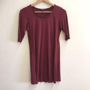 Eileen-Fisher-Women-039-s-Burgundy-Silk-Half-Sleeve-Dress-Petite-PP