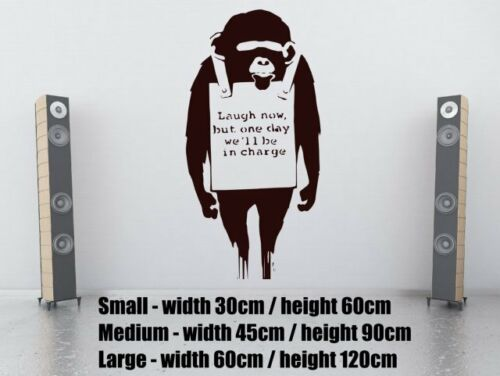 Banksy Graffiti Monkey /'Laugh Now/' Large Art Wall Stickers Decal High Quality UK