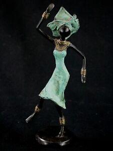 Arte Africano Contemporaneo - Elegante Ballerina IN Bronzo - Burkina - 19,5 CMS
