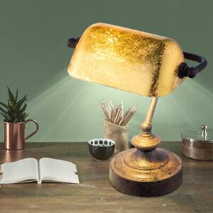 Tisch Banker Leuchte Antik Arbeits Zimmer Blattgold Nacht Licht Lampe patiniert