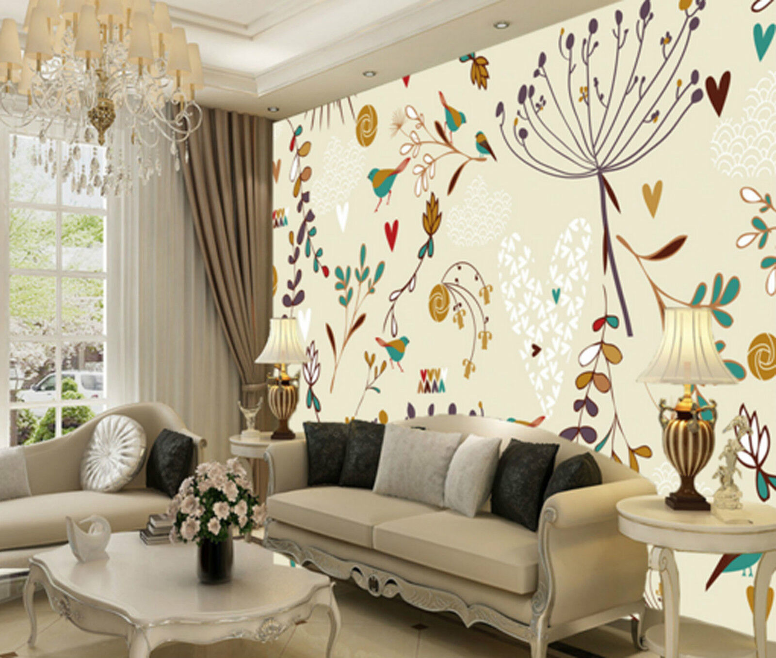 3D ColGoldt Trees And Birds 8244 Wall Paper Wall Print Decal Wall AJ WALLPAPER CA