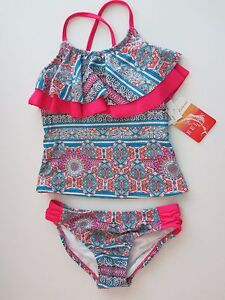 Clothing, Shoes & Accessories Tommy Bahama Big Girls Two-Piece Pink Bikini Swimsuit Size 7 8 10 12 14 16