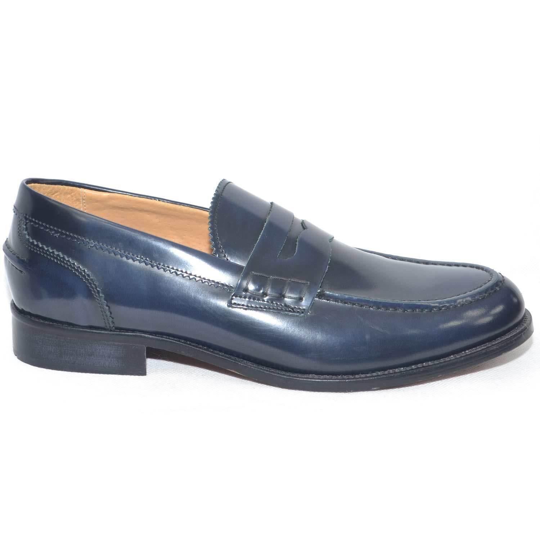 Scarpe uomo mocassino made classico blu abrasivato fondo cuoio antiscivolo made mocassino in it b9006b