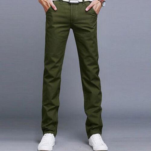 Mens Casual Pencil Dress Pants Skinny Slim Fit Straight-Leg Jeans Trouser Slacks