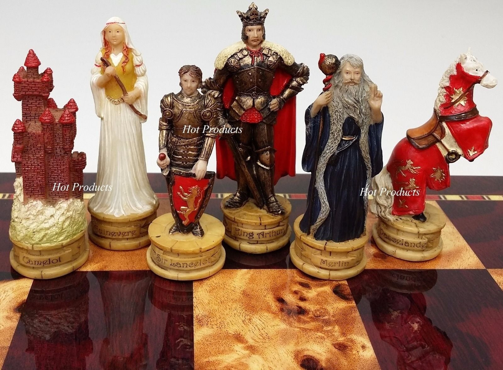 King Arthur / Sir Lancelot Camelot Medieval Times Knight Set Chess Uomo -NO BOARD