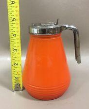 Vintage Hazel Atlas Glass/Metal Orange Syrup Pitcher
