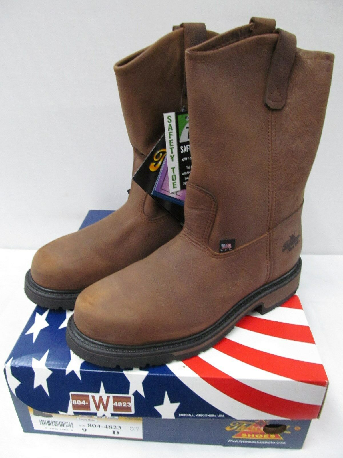 Thgoldgood Work Boots Mens Wellington Oil Rig Steel Toe Brown 804-4823