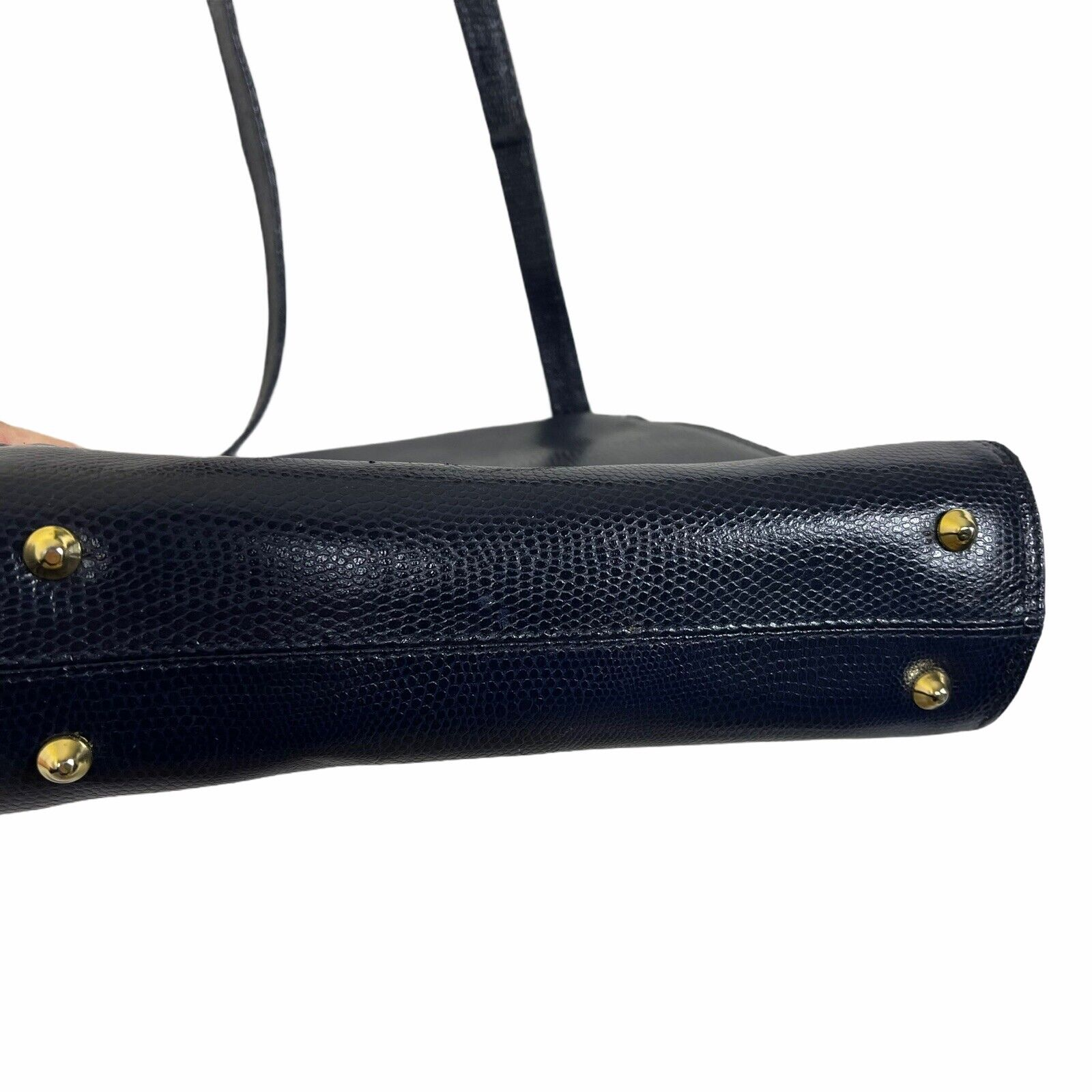 ARNOLD SCAASI NAVY LIZARD LEATHER WITH BOWS WOMEN… - image 3