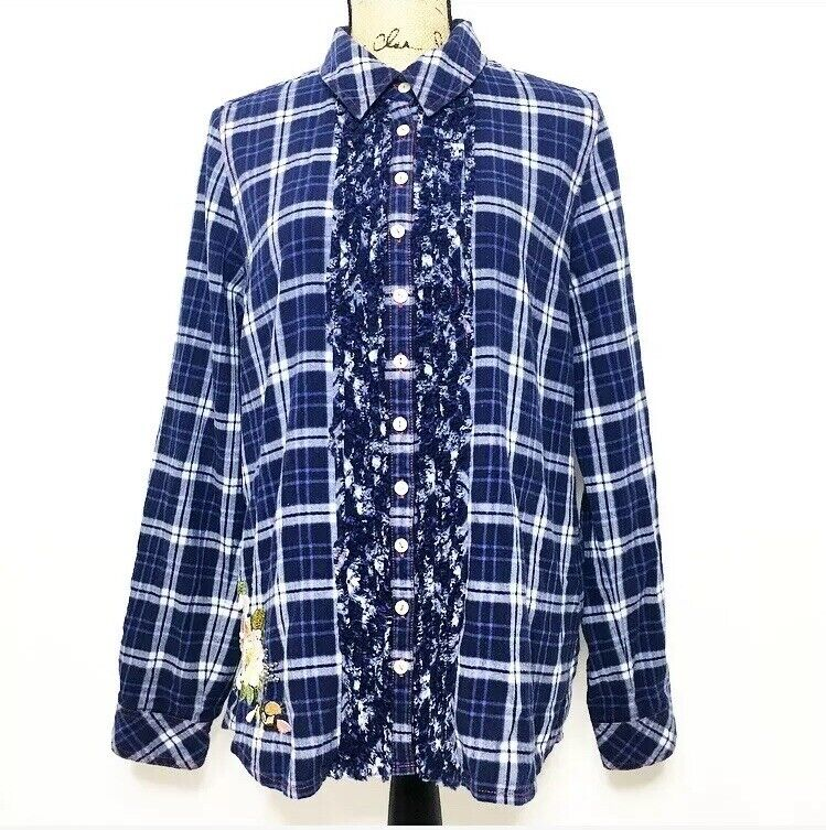 3 J Workshop Johnny Was Plaid Shirt L Blau Floral Embroiderot Cotton Top