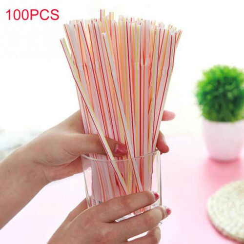 Curved Plastic Bend Colorful Drinking Straw Extra Long Cocktail Birthday 100PC