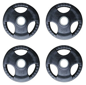 6-x-5KG-Olympic-Tri-Grip-Weight-Discs-Rubber-Iron-2-034-Hole-Plates-20KG