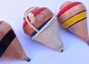 """2X MiniWooden Spinning Top """"Varnished"""" El Salvador trompo with rope Boys n Girls"""