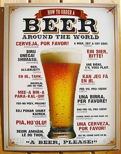 New Tin Sign A Beer Made in USA How To Order A Beer Around The World Please