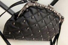 Rivet Punk Skull Head PU Leather Diamond Shoulder Bag Studs Woman Evenin Clutch