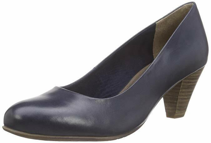 TAMARIS 22400 Navy Soft Leather Court schuhe With Anti Shok Heel & Touch It Insole