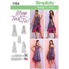 Simplicity 1164 Paper Sewing Pattern EASY Wrap-Twist-Tie Dress Skirt Size 4 - 24
