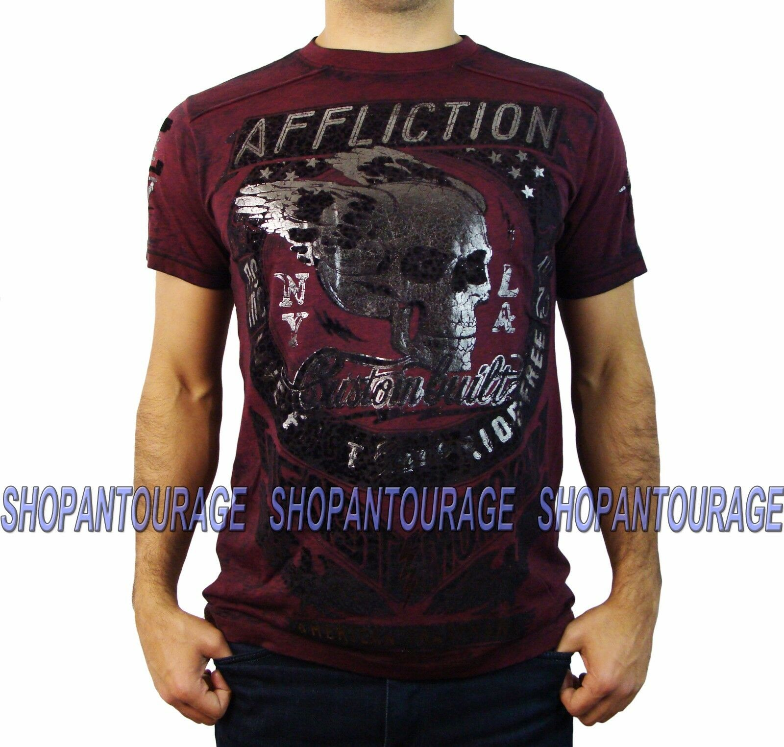 AFFLICTION Fast Motors A13229 Men`s New Dirty Red Burnout T-shirt