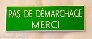 """Plaque Gravée """"pas De Demarchage Merci"""" Format 29 X 100 Mm Design Moderne"""