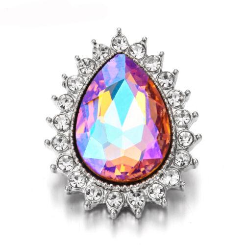 6pcs Mixte 3D en Alliage Crystal Snap Bouton pour 18 mm Charme Collier Bracelet LWN03