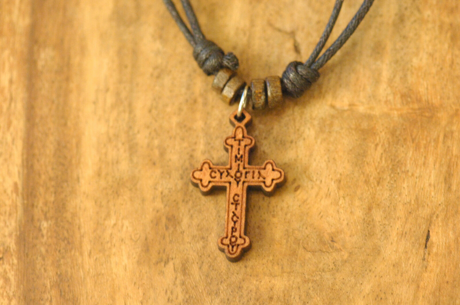 Handmade Christian Orthodox Pendant With Wooden Cross Necklace Crucifix No5