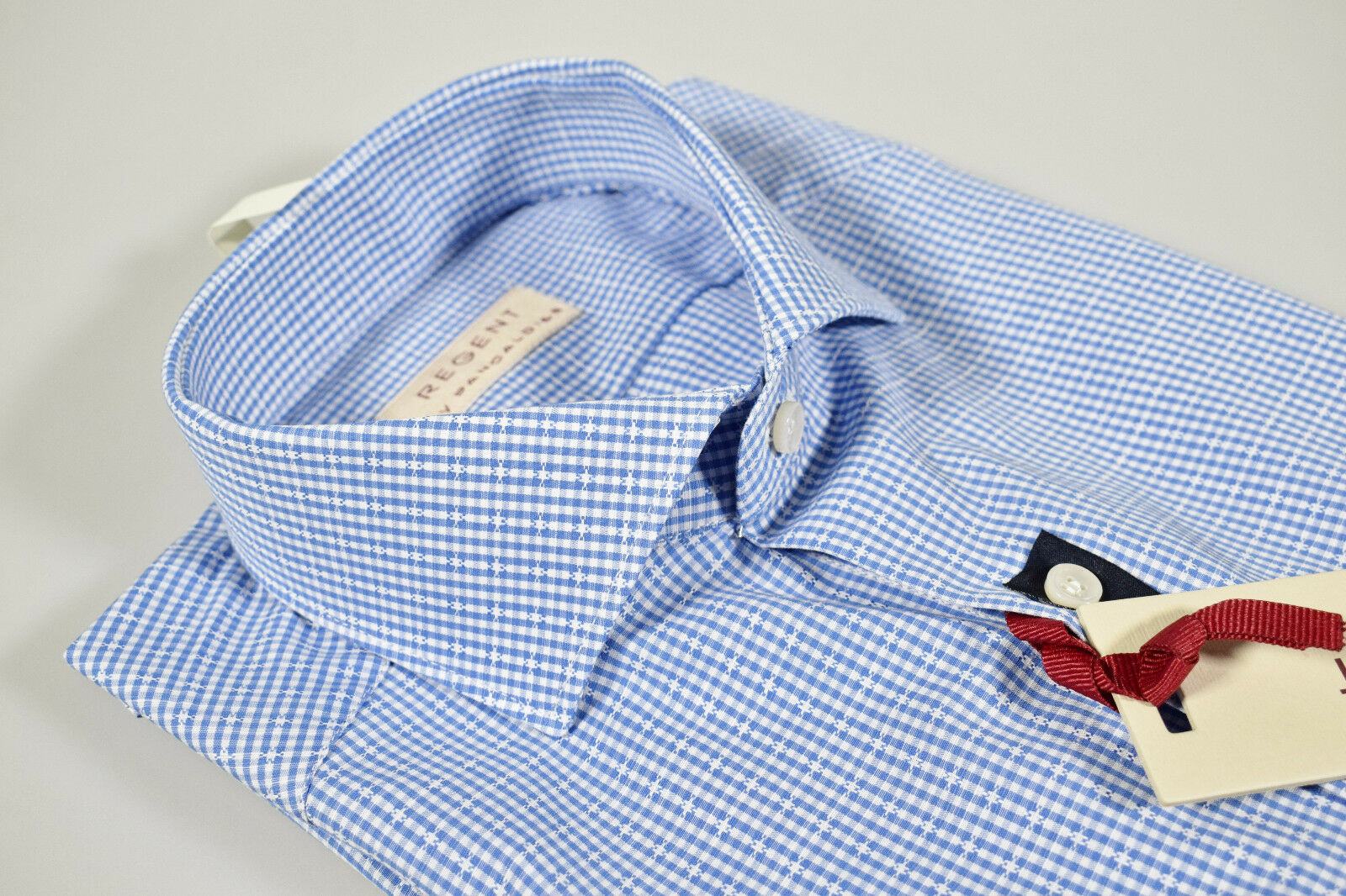 Camicia a quadretti Celeste Pancaldi collo francese vestibilità slim fit cotone