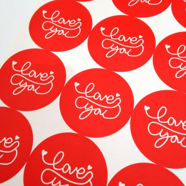 48x Red Love You Stickers
