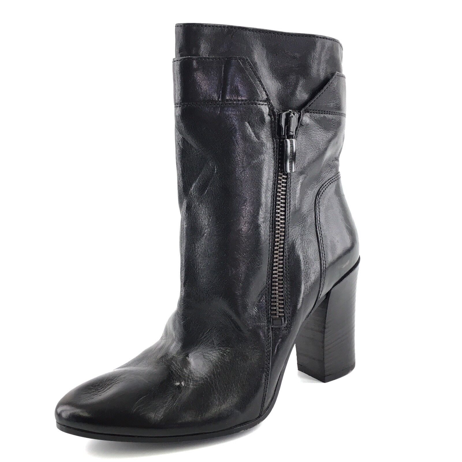 Janet & Janet Black Leather Mid Calf Short Boots Women's Size M 280*