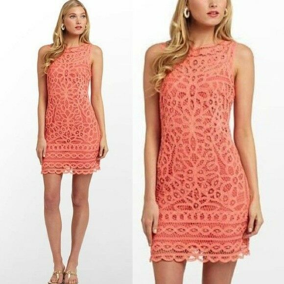 378.00 NWT LILLY PULITZER TABITHA BATTENBURG LACE DRESS SUNRISE orange