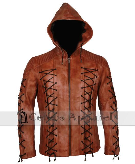 Arrow Arsenal Red Colton Haynes Hooded Costume Leather Jacket