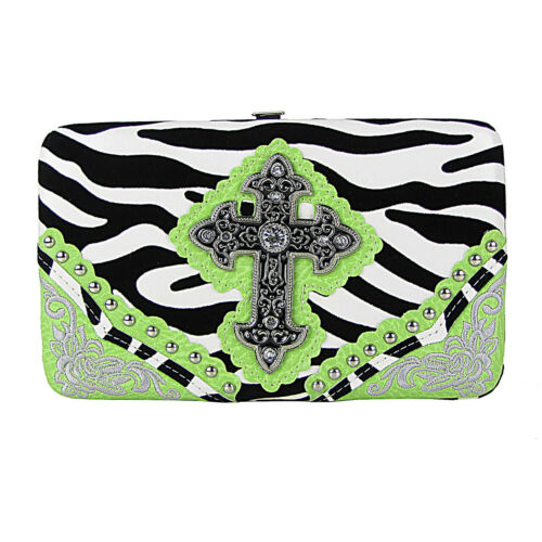 GREEN ZEBRA STITCHED CROSS MONTANA WEST RHINESTONE BLING FLAT THICK WALLET NEW