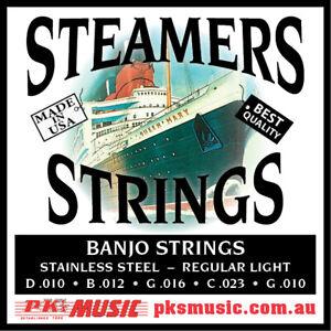 Steamers-Banjo-Strings-5-string-Loop-End-Steel-US-Made-New-FREE-POSTAGE