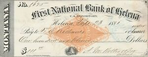 1881 HELENA, MONTANA     FIRST NATIONAL BANK  OF HELENA   REVENUE