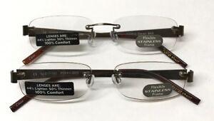 8e232dde5c0e LOT OF 2 - Reading Glasses Foster Grant Steven Brown +1.50 NEW