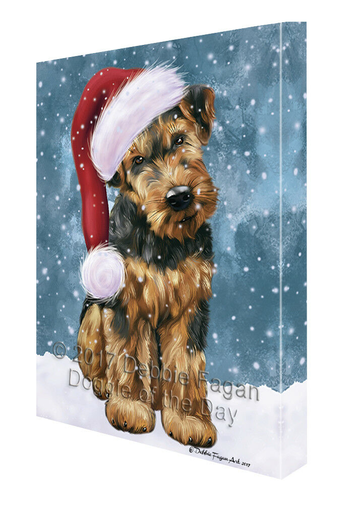 Let it Snow Christmas Holiday Airotale Dog Wearing Santa Hat Canvas Wall Art