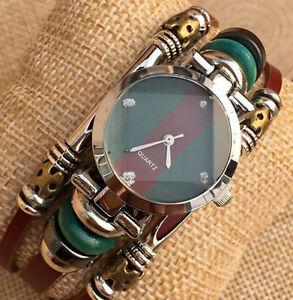 damen modische schnalle handgelenk armband leder anlog quarz uhren geschenk ebay. Black Bedroom Furniture Sets. Home Design Ideas