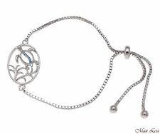 Silver 925 Blue Topaz Hawaiian Honu Sea Turtle Sliding Adjustable Bead Bracelet