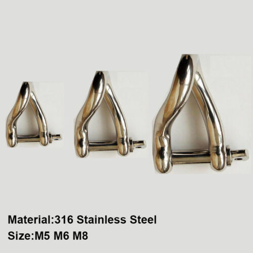 Twisted Dee shackle marine grade 316 stainless steel Sail Hardware 5mm 6mm 8mm