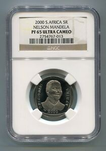 NGC-Proof-Rare-PF-65-Ultra-Cameo-South-Africa-Nelson-Mandela-Year-2000-R5-Coin