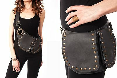 Hip Handmade Leather Waist Pack Sling Bag Party Festival Belt Utility Pouch NEW
