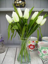 Bunch of Ivory White Tulips, Real Touch Leaves Artificial Silk Flowers 12 Stems.