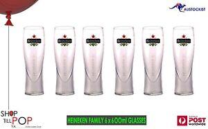 Heineken 6 x Tall Pilsner Beer Glasses 600mls Pint No Box BNWOB Dutch Amsterdam