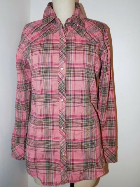 b79cba65 Details about 2441 ROCK 47 by WRANGLER Fitted Ladies PINK plaid Rhinestone  Western Shirt Sz M