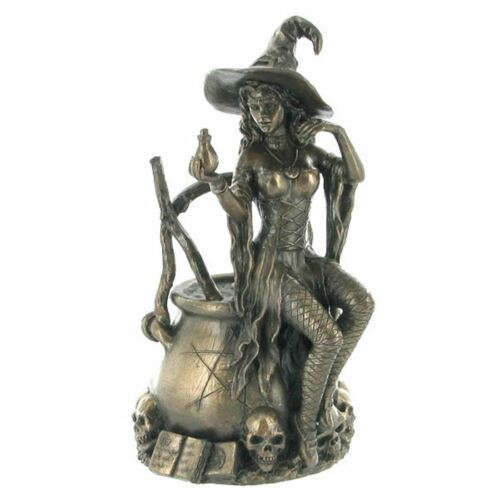Bronze Effect Witch on Cauldron Sculpture Statue Wiccan Pagan Figure Gift