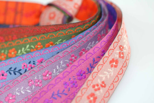 Neotrims English Rose Floral Vine Jacquard Ribbon Trimming,16mm,Decorative Craft