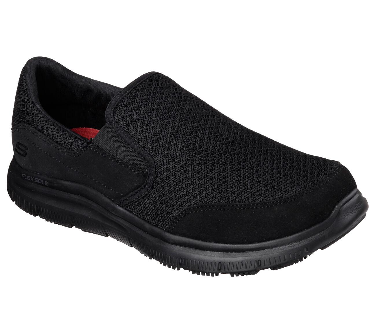 77048 Black Skechers shoe Work New Men Sporty Comfort Mesh Slipon Slip Resistant