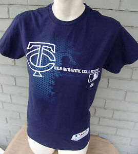 Minnesota-Twins-MLB-Authentic-Majestic-Size-Small-T-Shirt-Navy-Blue