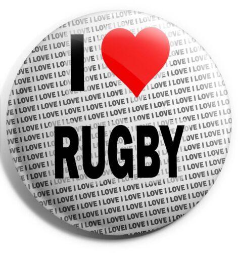 Stocking Filler I Love Rugby Badge Magnet Back Birthday Gift