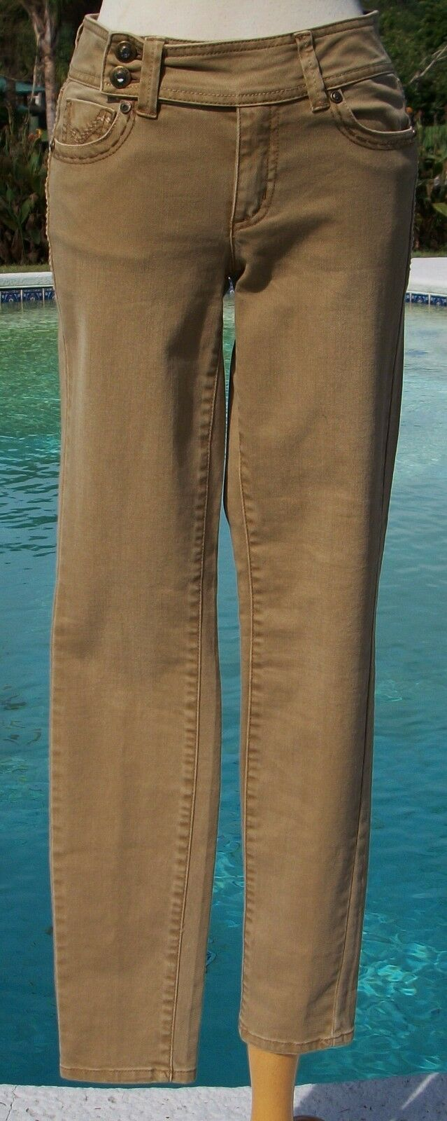 Cache Rhinestone Stud Embellished Jean Pant New Sz 0 2 XS Stretch NWT  128