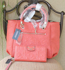 NWT GUESS G Cube Abbey Satchel Handbag & Zip Around Wallet Set Color Coral
