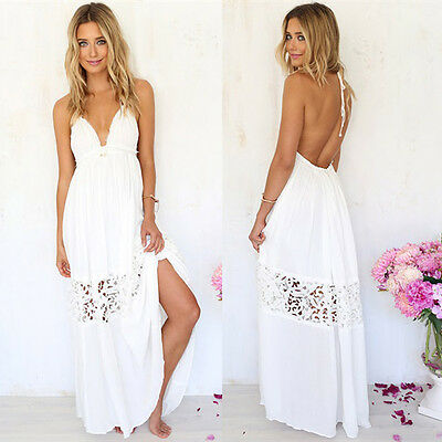 Sexy Women Maxi Long Lace Cocktail Evening Party Summer Beach Backless Dress